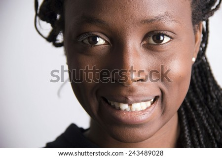African young girl smiling portrait - stock photo