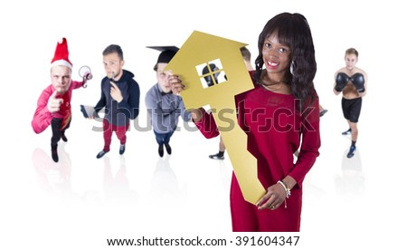African young girl with a house key