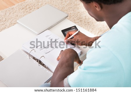African Young Man Calculating His Finance Expenses At Home - stock photo