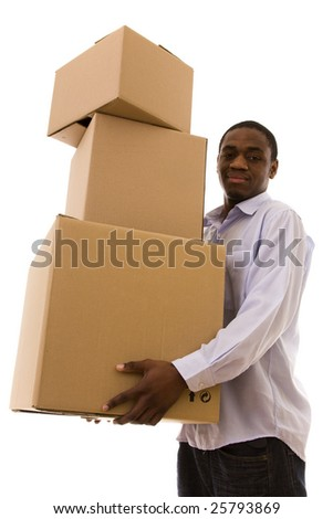 African young man holding a stack of packages