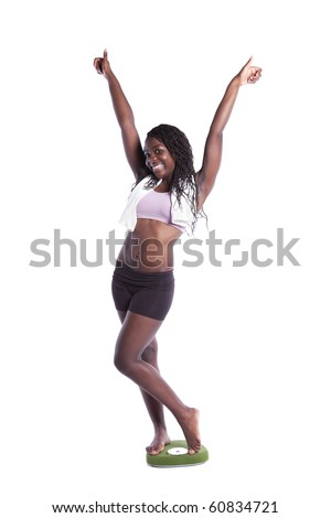 african young woman happy with her diet results (isolated on white) - stock photo