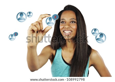 African young woman pressing Social Network icon - isolated - stock photo