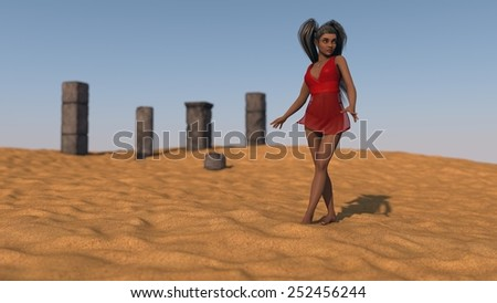 african young woman wearing red dress posing in desert  - stock photo
