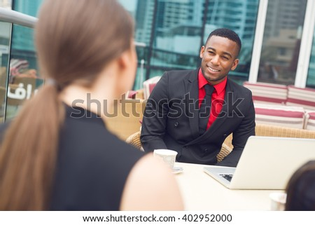 Afro american at interview. - stock photo