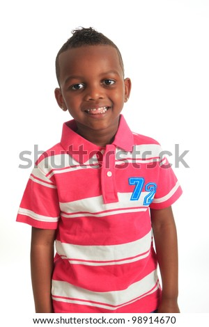 afro american beautiful black child who smiles isolated metisse hair curly teeth - stock photo