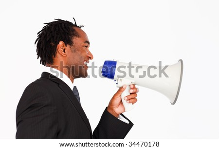 Afro-american businessman making announcement through megaphone