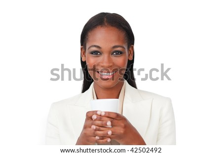 Afro-american businesswoman drinking a coffee against a white background - stock photo