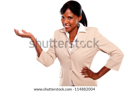 Afro-american businesswoman looking at you on isolated background - stock photo