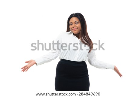Afro american businesswoman shrugging shoulders isolated on a white background. Looking at camera - stock photo