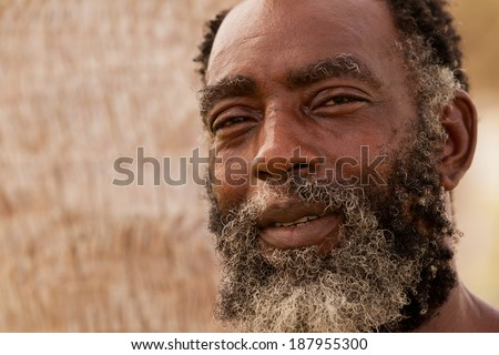 AFRO-AMERICAN SENIOR MAN WITH A POWERFUL EXPRESSION IN HIS EYES  - stock photo
