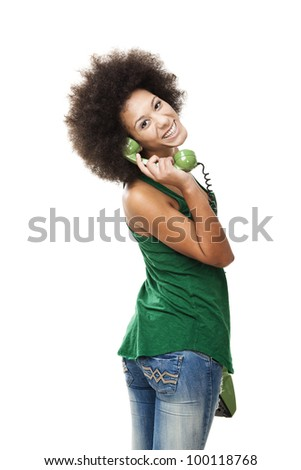 Afro-American young woman answering a call, isolated on white background - stock photo