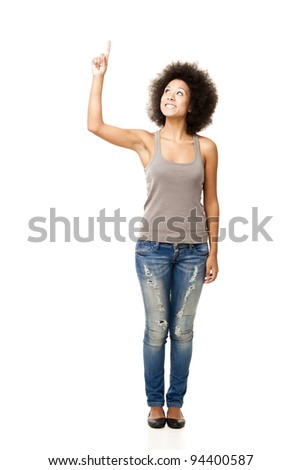 Afro-American young woman isolated on white looking up with a finger on the air - stock photo