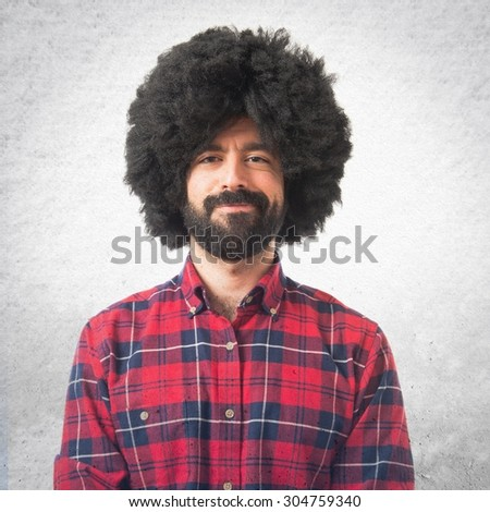 Afro man over grey background - stock photo
