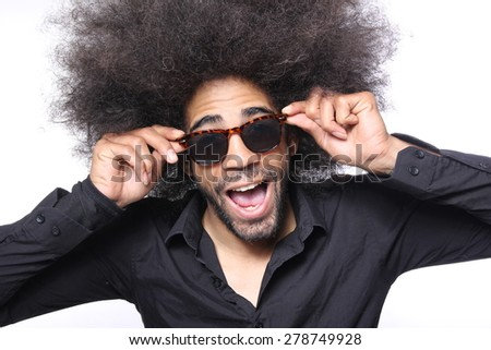 Afro man posing - stock photo