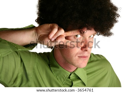 Afro wig on thirty something white male