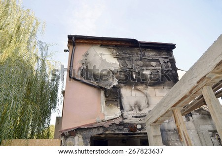 After a fire, detail view of a burnt-out building, view of a   building