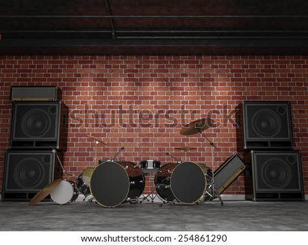 After a rock concert. 3D render - stock photo
