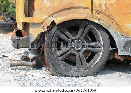 After being burnt down car - stock photo
