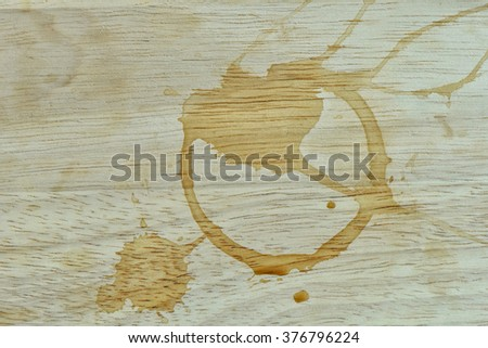 After coffe break with Coffee stains on the table - stock photo