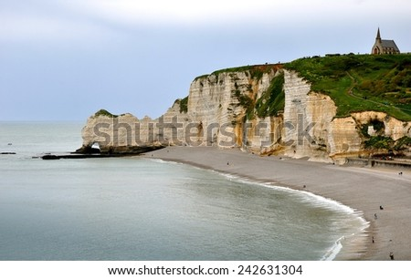 After Rain. Cliffs and Beaches of Etretat, Normandy. France.