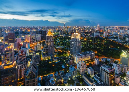 After sunset Bangkok cityscape top view - stock photo