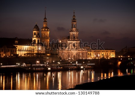 After sunset. Historic Center, Dresden, Germany. - stock photo