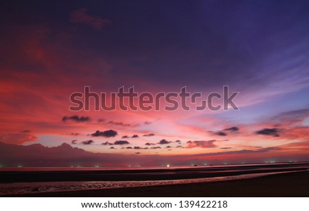 After sunset on the beach - stock photo