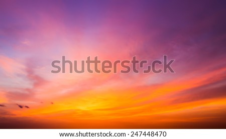 After sunset sky. The magnificent sky and clouds in last beams of the sun. - stock photo
