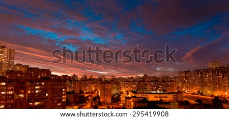 After sunset time. Twilight over urban district. Aerial view. Typical modern residential area. Kiev. Ukraine. - stock photo