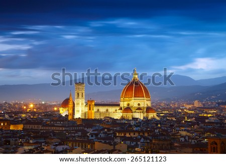 After sunset view of Cathedral  Santa Maria del Fiore. Florence, Italy