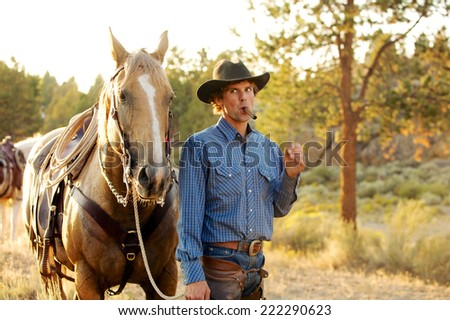 After the ride, Cowboy and his horse