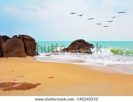 After the storm. The beach of Koh Samui and scenic rock after the flood and storm  - stock photo