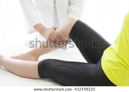 After work of women undergoing a thigh muscle massage.