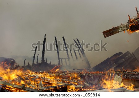 aftermath of fire - stock photo