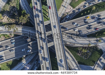 Afternoon aerial view downtown four level interchange of the Harbor, Pasadena and Hollywood Freeways.