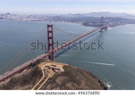 Afternoon aerial view of San Francisco Bay, Marin Headlands and the Golden Gate Bridge.