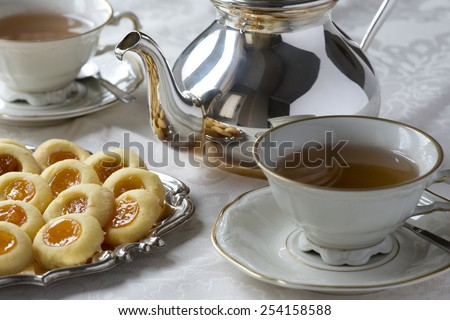 Afternoon tea and biscuits in London - stock photo