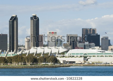 Afternoon view of the San Diego, California convention center as viewed from Coronado Island. - stock photo