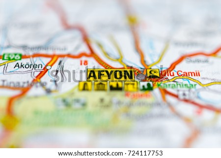 Afyon On Map Stock Photo 724117753 Shutterstock