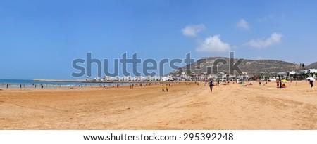 agadir city morocco beach and ocean landscape panorama 06.06.2015 - stock photo