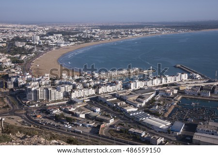 AGADIR, MOROCCO - FEBRUARY 29, 2016: Overview of the city with Marina and fishing port , from ancient Kasbah