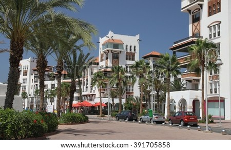 AGADIR, MOROCCO - JULY 2: A panoramic view of the entrance to the marina in the town of Agadir in Morocco on the 2nd July, 2015.