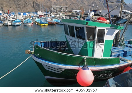 AGAETE, CANARY ISLANDS - june 08, 2009: Fishing boats in the port of Agaete, Gran Canaria