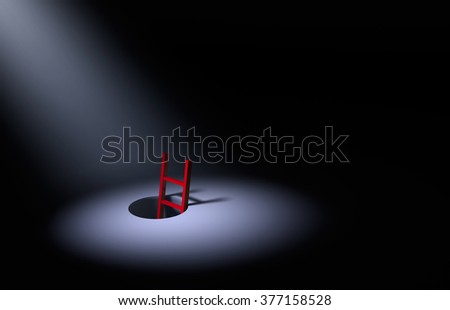 Against a dark background, a spotlight brightly illuminates the top of red ladder leading out of a dark hole.