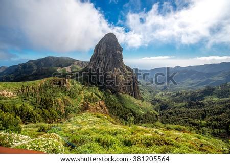 Agando cliff near Garajonay park on La Gomera island - stock photo
