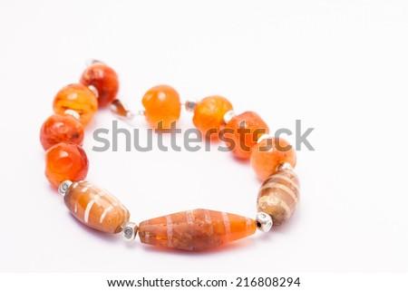 Agate Bracelet Isolated On White Background. - stock photo