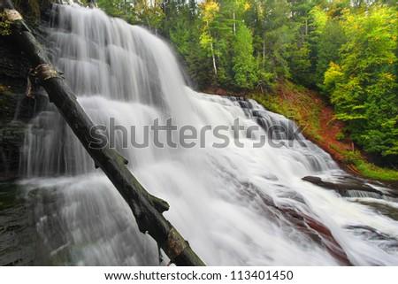 Agate Falls in the Upper Peninsula of Michigan - stock photo