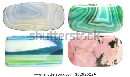 agate rodonite chrysoprase geological minerals isolated - stock photo