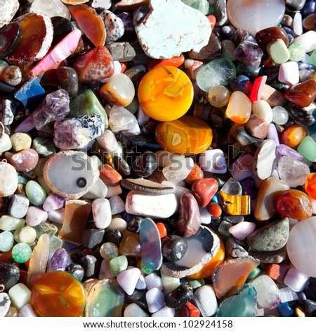 agate stone with many colorful mineral quartz rock crystal - stock photo