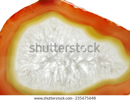 agate with chalcedony geological crystal isolated - stock photo